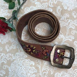 Lucky Brand Embroidered Floral Boho Leather Belt